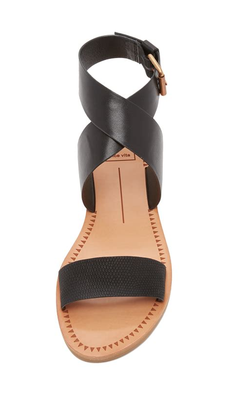 dolce vita julius flat sandals in black lyst
