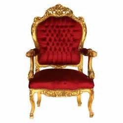 baroque style throne armchair gold wood frame velvet