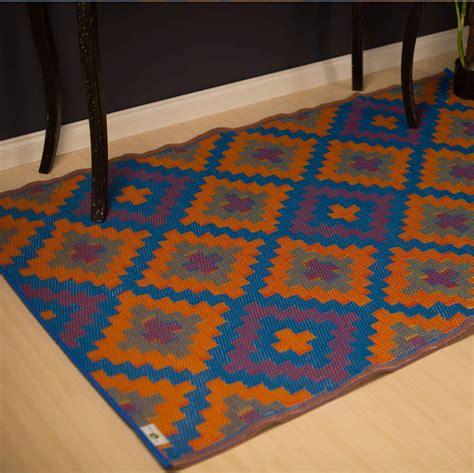 fab rugs fab rugs saman blue orange 180x270cm outdoor indoor plastic modern floor rug mat ebay