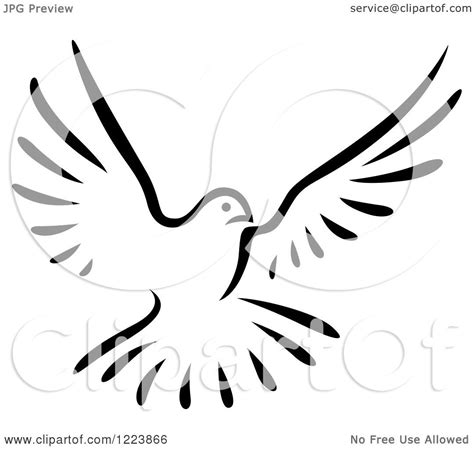 clipart of a black and white flying dove 2 royalty free