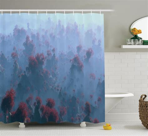 wilderness shower curtain aerial mystic of mountain landscape fall tree mist