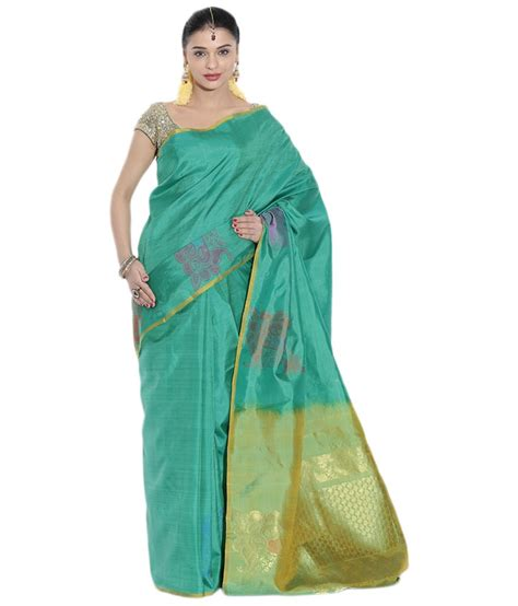 pothys silk sarees buy pothys green golden silk arani pattu kanchipuram saree