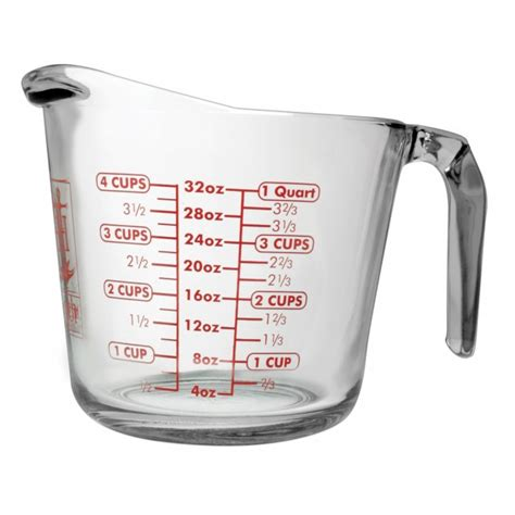 Clear Glass Kitchen Canister Sets Anchor Hocking 32 Oz Open Handled Measuring Cup