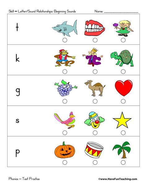Letter Beginning preschool matching worksheets for letter sounds preschool