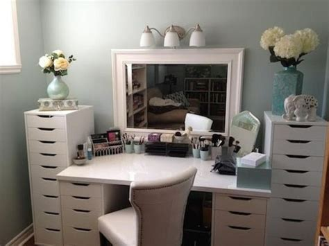 Makeup Vanity Table With Storage Vanity Using Ikea Storage Drawers And Tabletop Https Www
