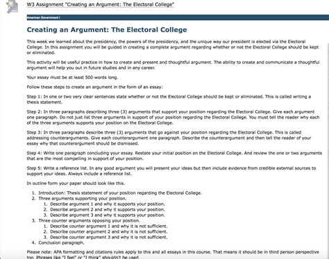 Electoral College Essay by Erican Government I Creating An Argument The Electoral College This Week We Learned About The