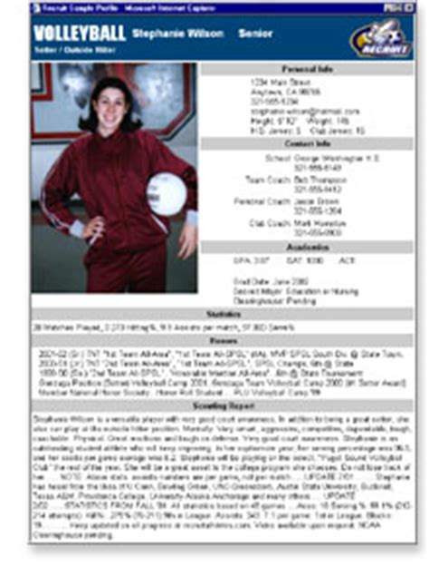 student athlete profile template best photos of athlete bio template football player