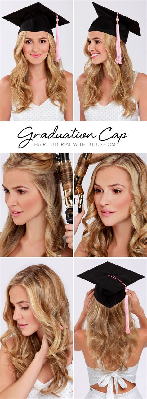 graduation hairstyles and makeup lulu s how to graduation cap hair tutorial lulus com