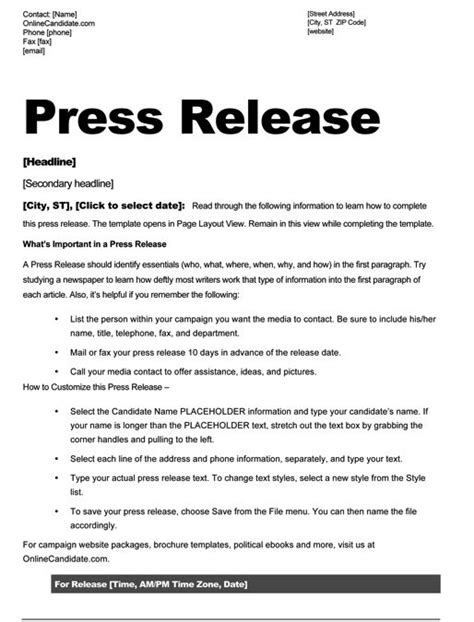 press release templates free school board caign press release template slate blue