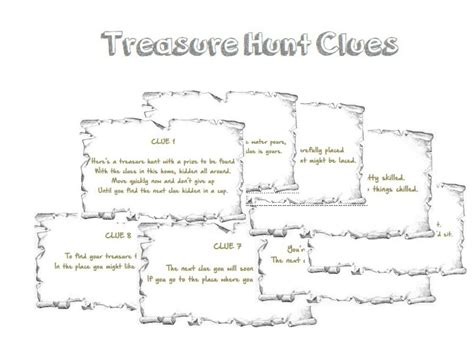 printable clue directions indoor treasure hunt clues printable instant download