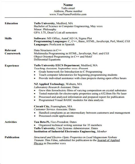 computer engineering resume resume of a computer engineer engineer