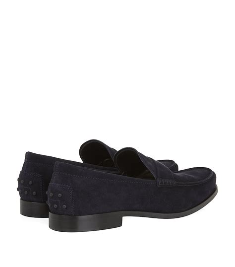 tods loafer tod s boston suede loafer in blue for lyst