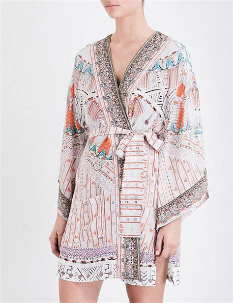 camilla desert silk kimono in pink lyst