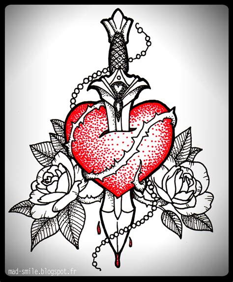 heart dagger tattoo and dagger by mad smile on deviantart