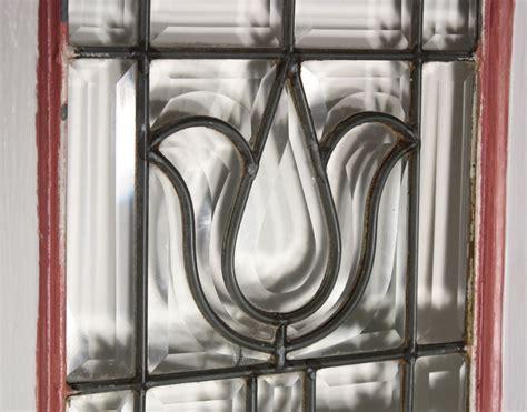 stunning antique american leaded beveled glass window