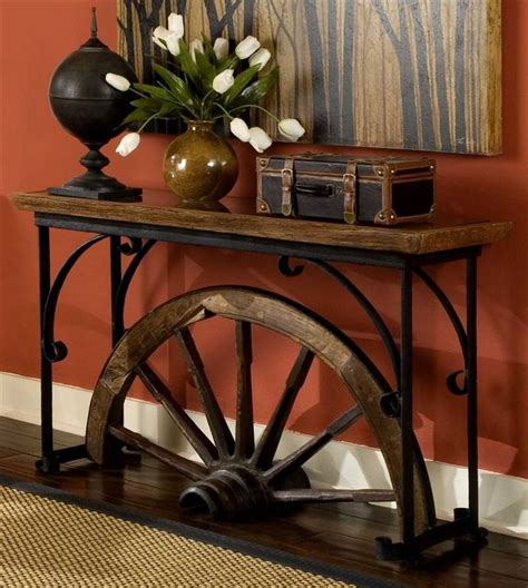western chic home decor western style sofa table w glass top wagon wheel half