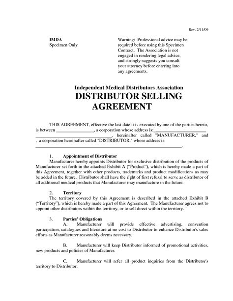 Letter Of Distribution Agreement Distributor Agreement Template Template Idea