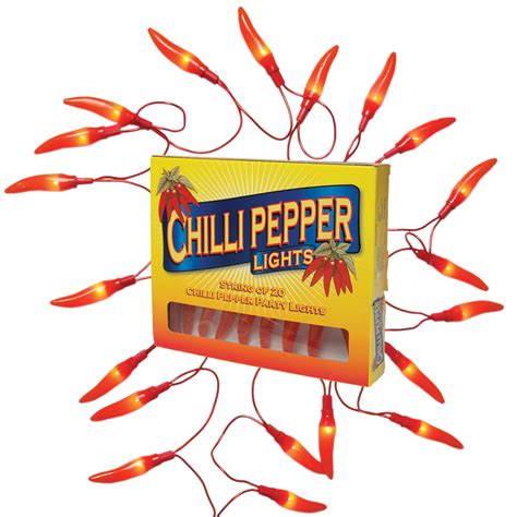 20 Chilli Pepper Lights On Loop Electric Powered Kitchen Chilli String Lights