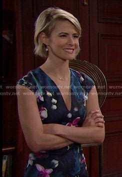 bold and the beautiful hairstyle for caroline forrester wornontv caroline s navy floral v neck dress on the bold