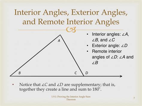 Exterior And Remote Interior Angles by Ppt Proving The Interior Angle Sum Theorem Powerpoint