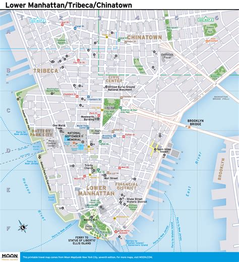 manhattan city map new york city map lower manhattan tribeca and chinatown