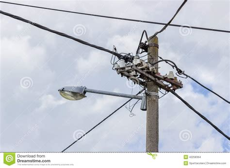 electric street light pole concrete electrical pole with street l stock photo