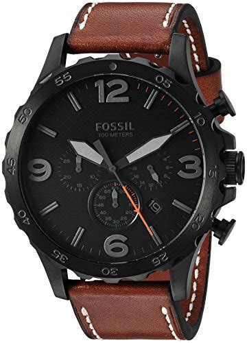 Fossil Nate Chronograph Luggage Leather Set Jr1524 fossil mens jr1524 nate chronograph luggage leather