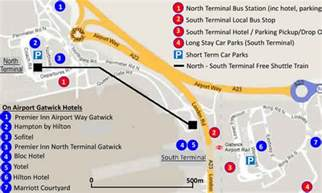 map of hton 8 gatwick airport hotels you can walk to from the terminals