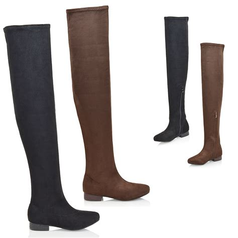 the knee high boots womens thigh high faux suede stretch the