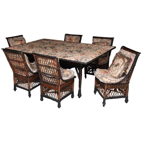 Antique Bar Harbor Wicker Dining Table And Set Of Chairs Wicker Dining Chairs For Sale