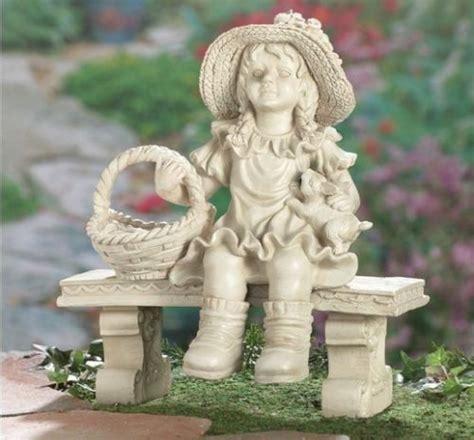 sweet  girl  bench garden statue figurine lawn