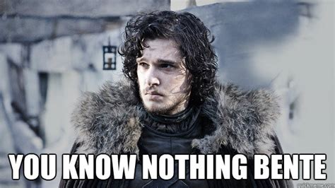 You Know Nothing Jon Snow Meme - you know nothing bente socially awkward jon snow quickmeme