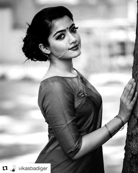 Rashmika mandana cute expression in saree - attractive