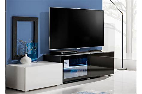 Meuble Blanc Et Noir by Meuble Tv Blanc Et Noir Laqu 233 Avec Led Novomeuble