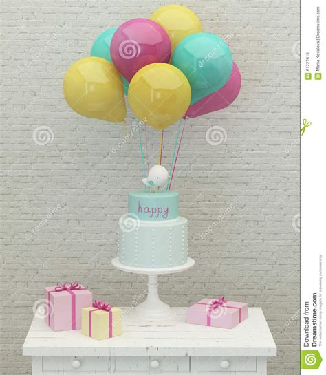 Balon Cake Happy Birthday Berkualitas birthday cake colorful balloons and presents 3d stock