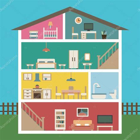 haus clipart detailed modern interior inside house stock vector