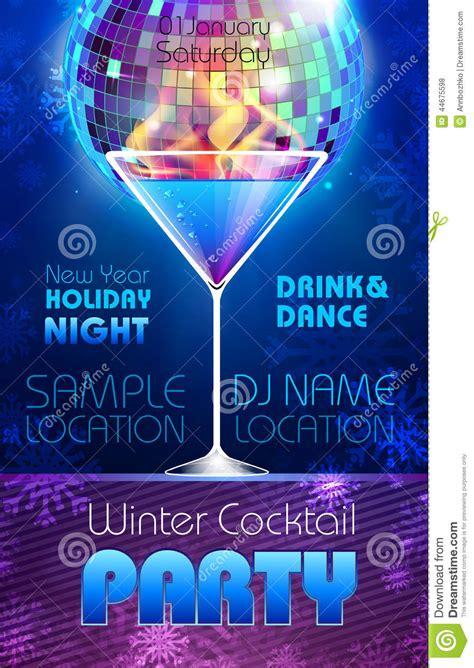 disco background winter cocktail poster stock vector illustration  disco orange