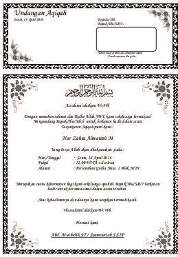 template undangan akikah contoh undangan aqiqah sumberinformasi695