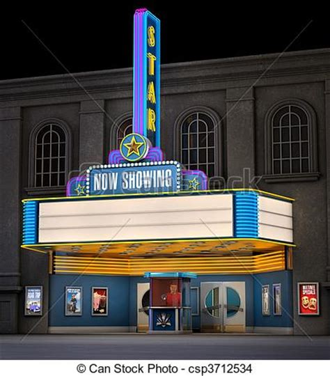 Small Office Building Plans drawing of movie theatre amp ticket box exterior night