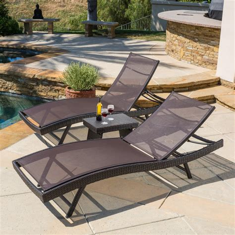 mesh chaise lounge outdoor eliana outdoor 3pc brown mesh chaise lounge chairs set