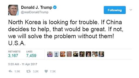 donald trump north korea tweet donald trump says north korea is looking for trouble