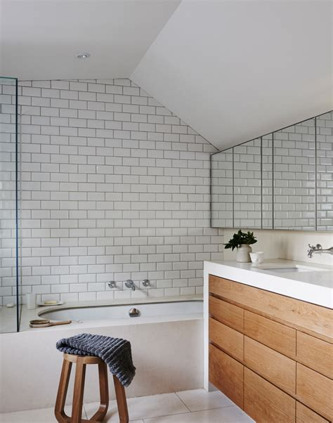 bathroom in kitchen modern bathroom with white metro tiles home bathrooms