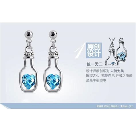 Anting Silver Earring Silver White Sterling Silver 925 3 wishing bottle earrings 925 sterling silver anting wanita white blue