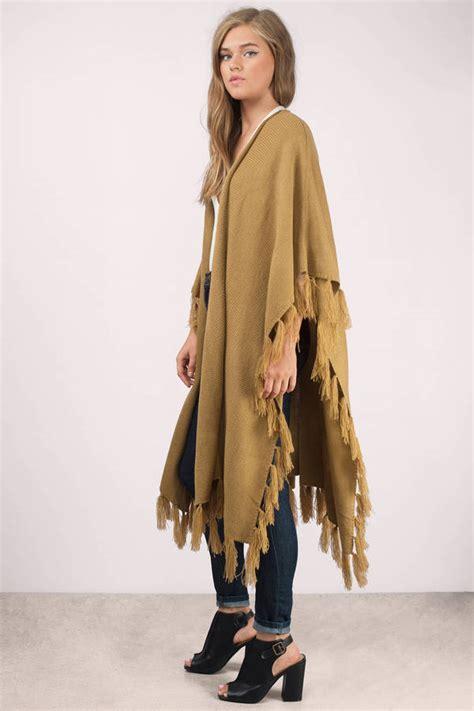 Nz Hem Livia camel cardigan camel poncho fringe cardigan camel