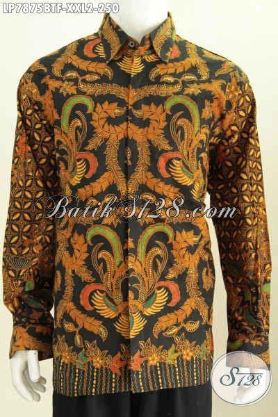 Kemeja Batik Lengan Panjang Motif Songket Prada Halus Ready Seragam baju batik jumbo lengan panjang kemeja batik halus furing motif klasik cocok buat