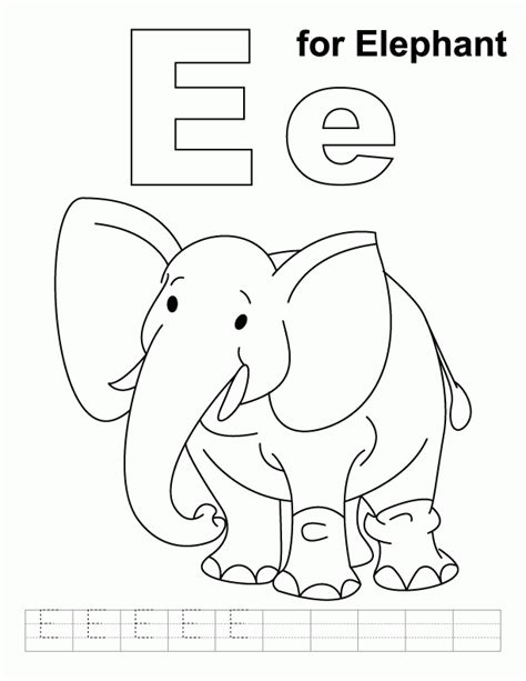 8 pics of e is for elephant coloring page alphabet