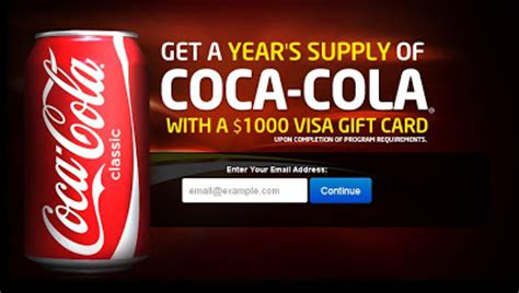 Coca Cola Gift Card - get a year supply of coca cola with a 1000 visa gift card