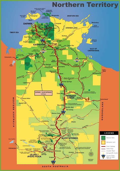 map northern australia northern territory tourist map