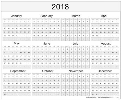 yearly calendar 2018 printable weekly calendar template