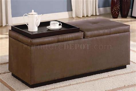Vinyl Storage Ottoman Brown Durable Leather Like Vinyl Storage Ottoman W Two Trays